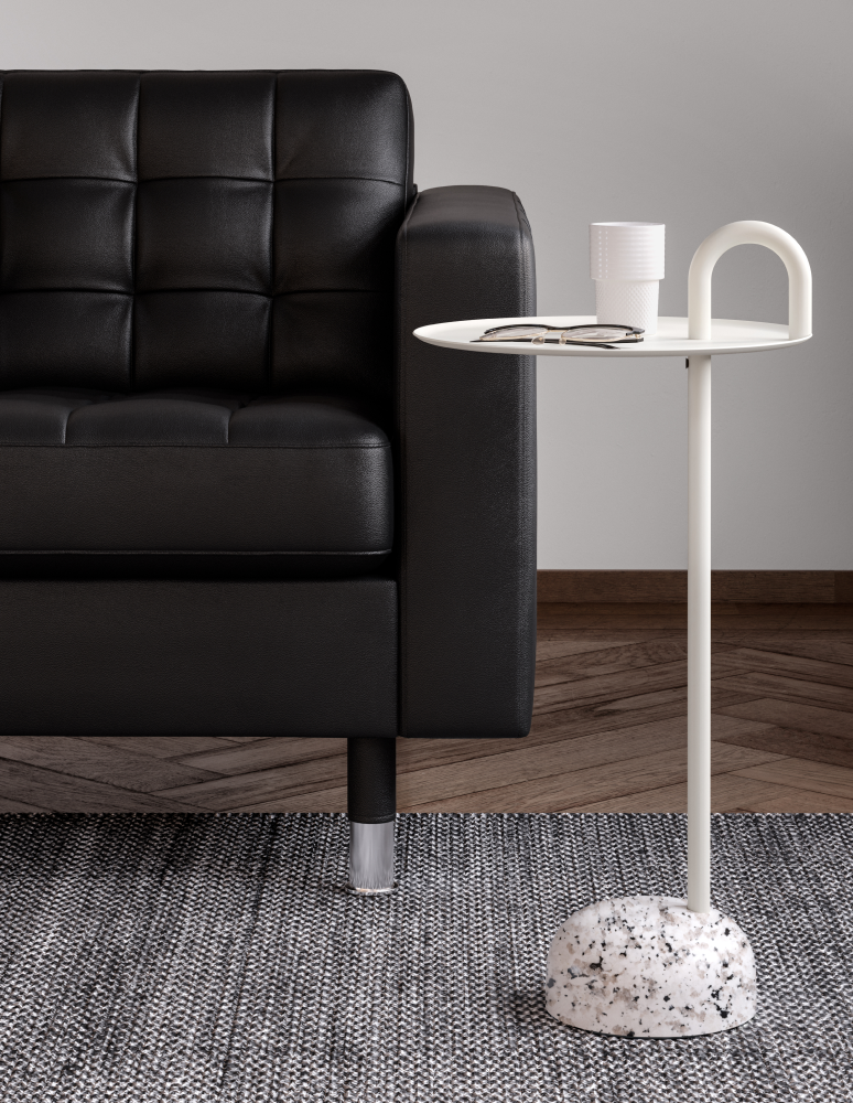Black leather lounge chair with white bowler coffee table in Nordic Black & White