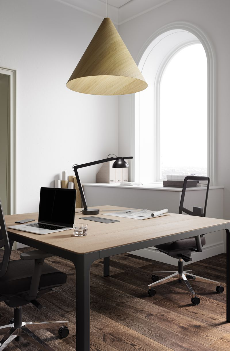 Open workspace with dark wooden work desk and comfortable JAMES MESH office chairs in Nordic Dark