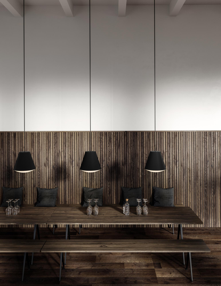 Nordic Dark Dining area with black pendant lamps