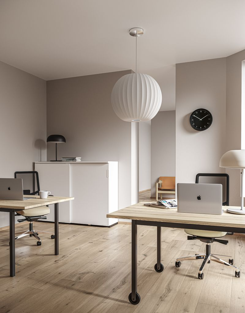 Minimal open workspace with wooden features and desks and JAMES MESH office chairs in Nordic Light
