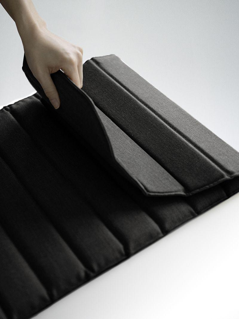 Artistic shot of Zilenzio privacy shield in Nordic Black & White