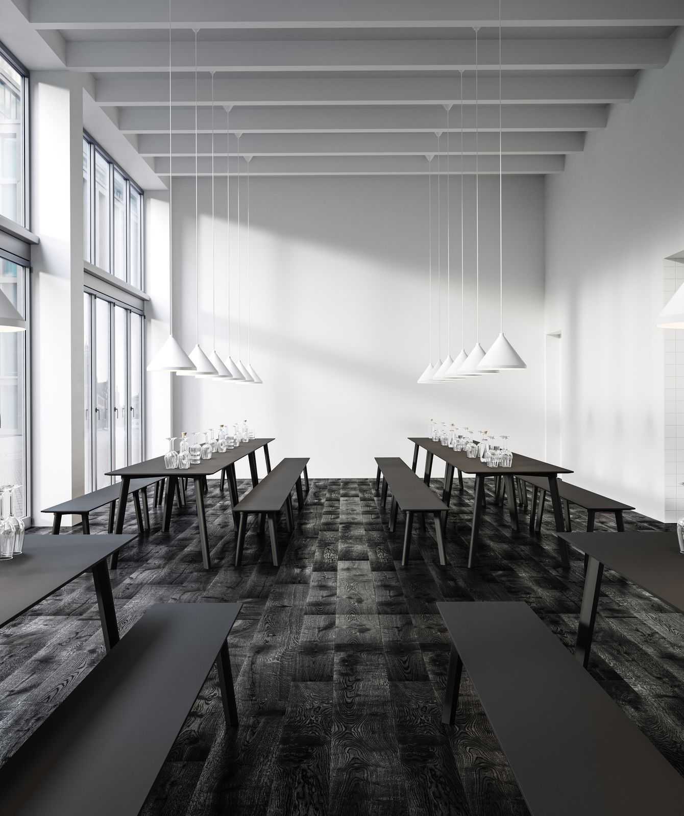 Comtemporary dining area with dark wood long tables and benches and lamps in Nordic Black & White