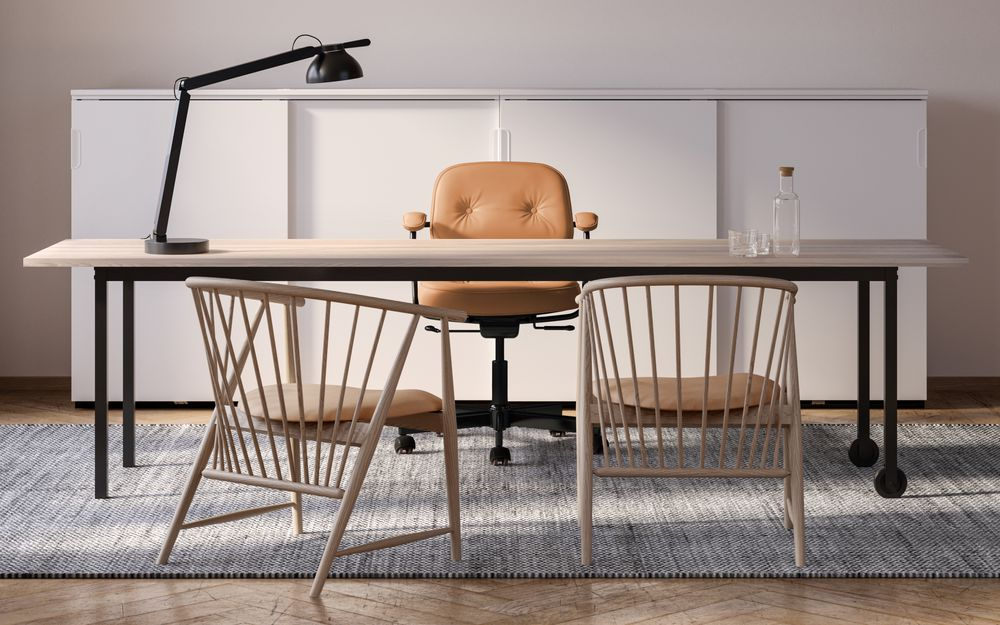 Executive Office  with Tanned leather chairs, wooden tables in the style Nordic Light