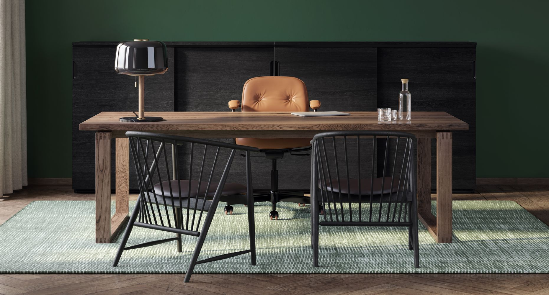 Executive office with brown leather office chair, 2 wooden lounge chairs and wooden desk with green accents in Nordic Dark.jpg