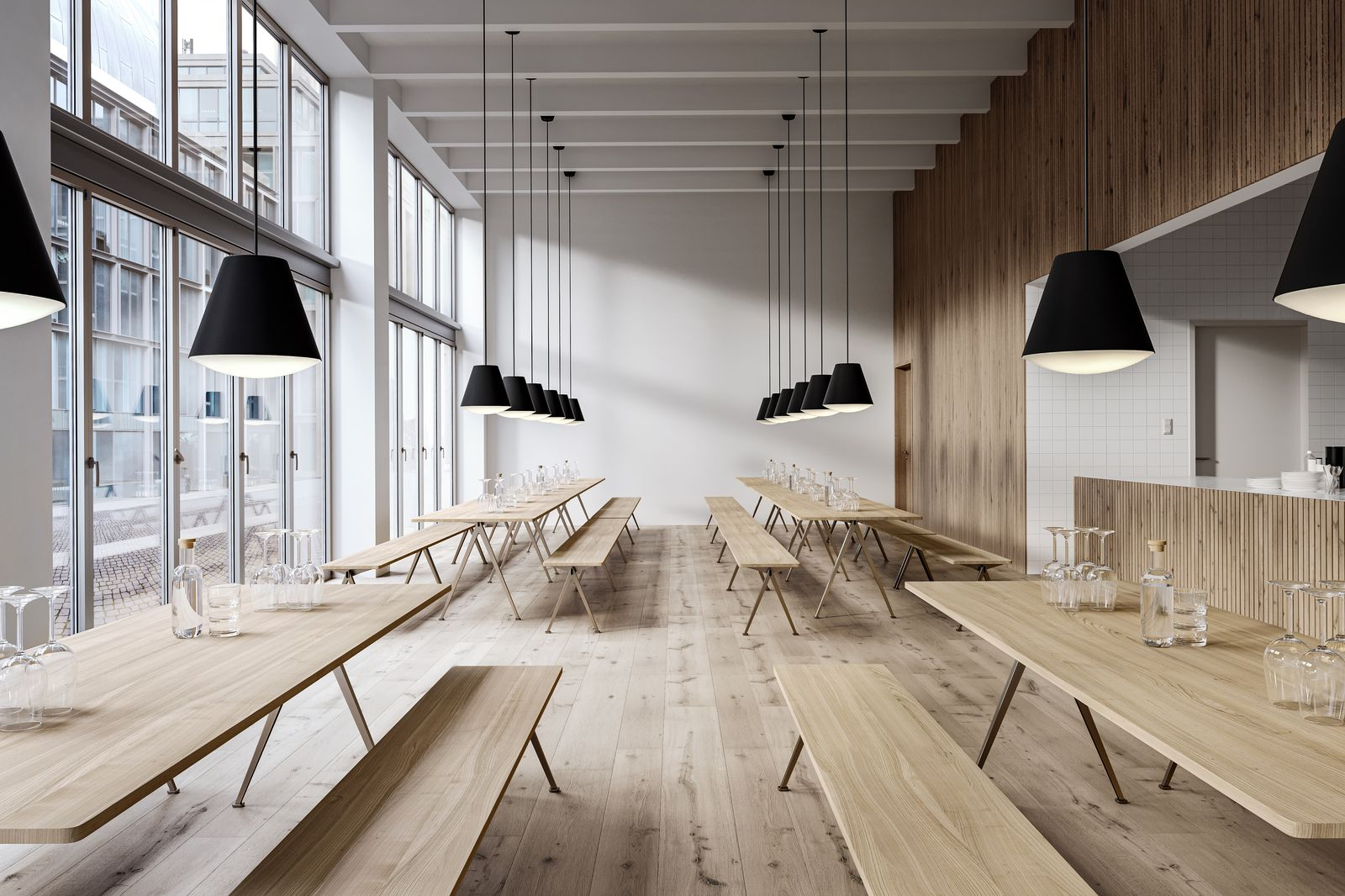 Open canteen area in nordic light
