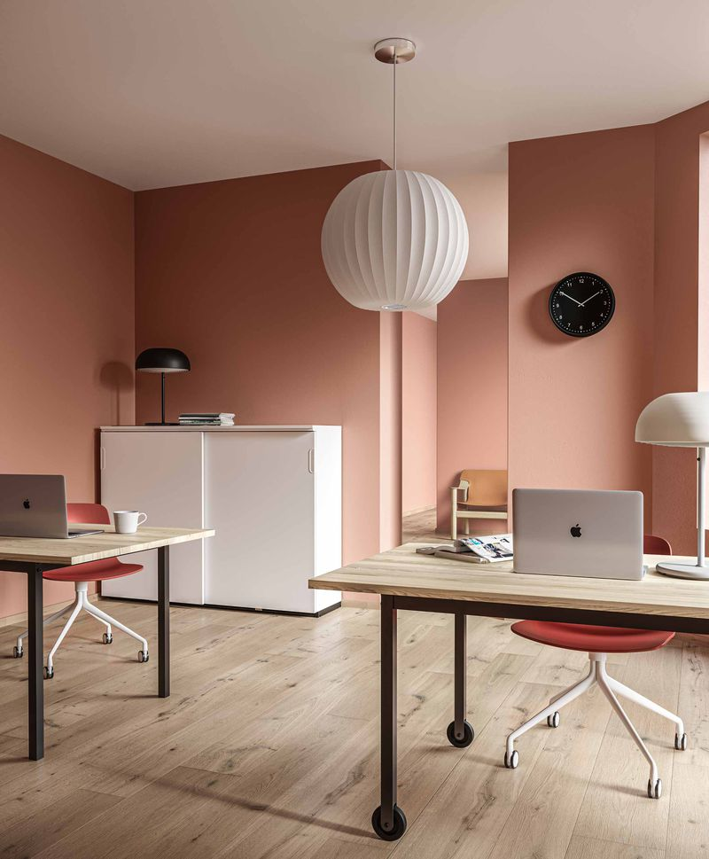 Open workspace with red accent in Nordic Light