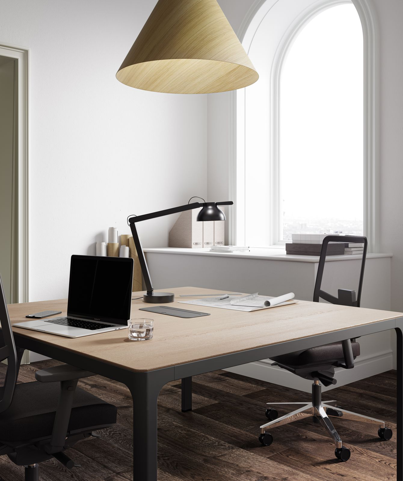 Office with HAY 30 degree lamp, JAMES MESH office chair, wooden desk and black lamp in Nordic Light