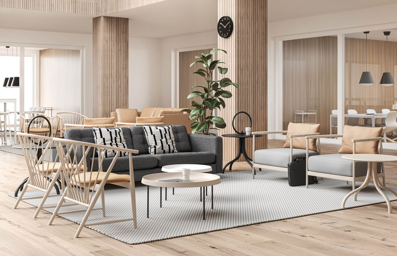 Open lounge area in nordic light.