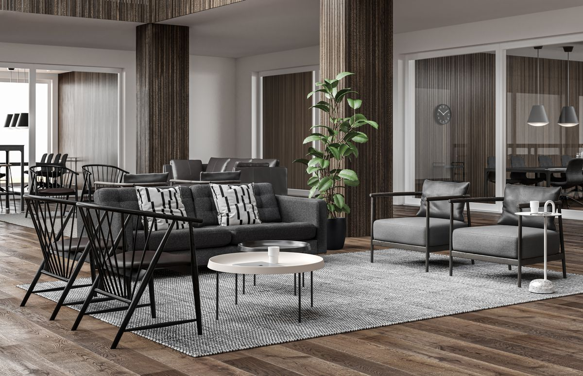 Lounge area with grey sofa, white coffee tables in Nordic Dark.jpg