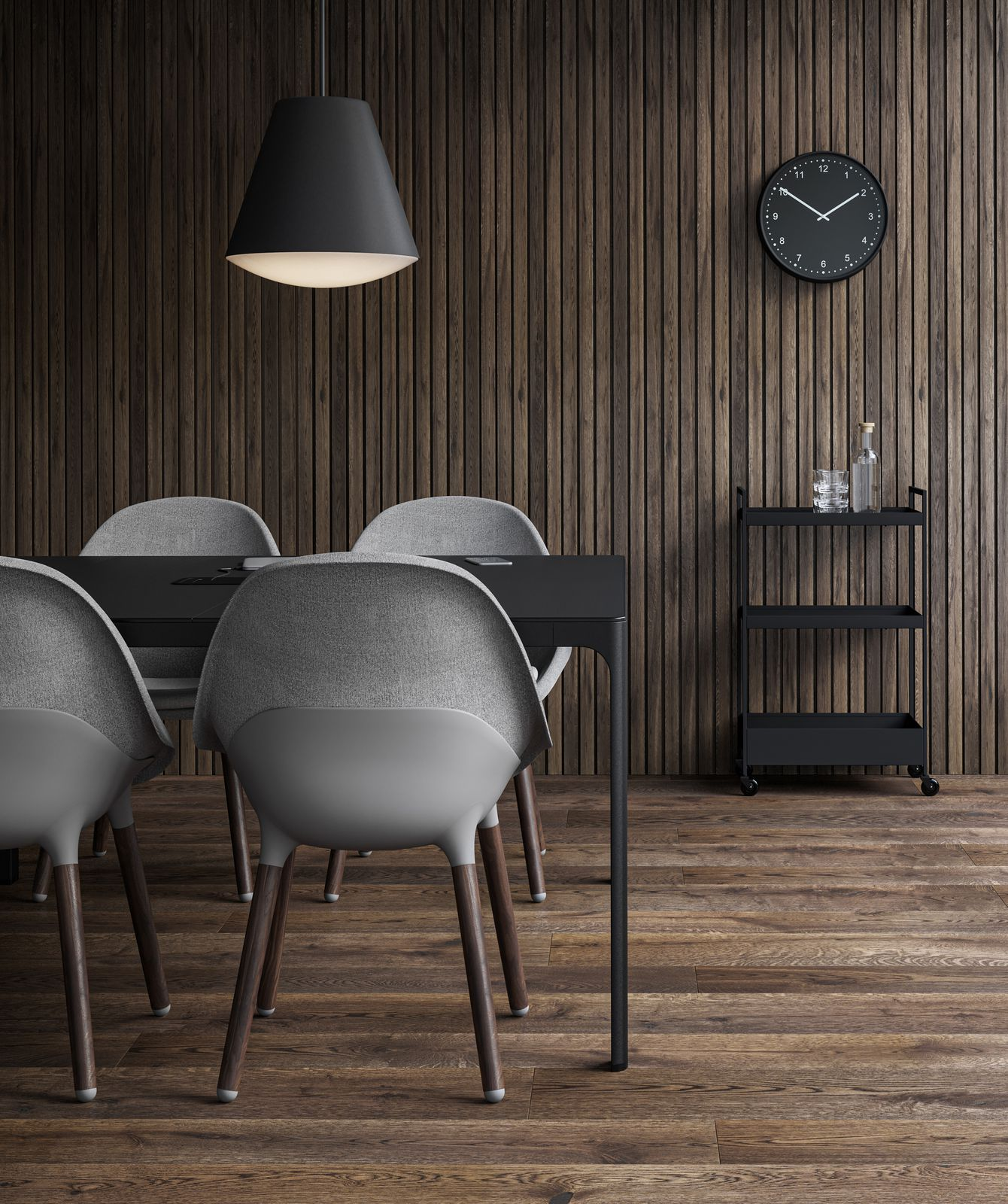 Meeting room in dark wood setting with clock on wall, trolley for beverages and pendant lamps in Nordic Dark