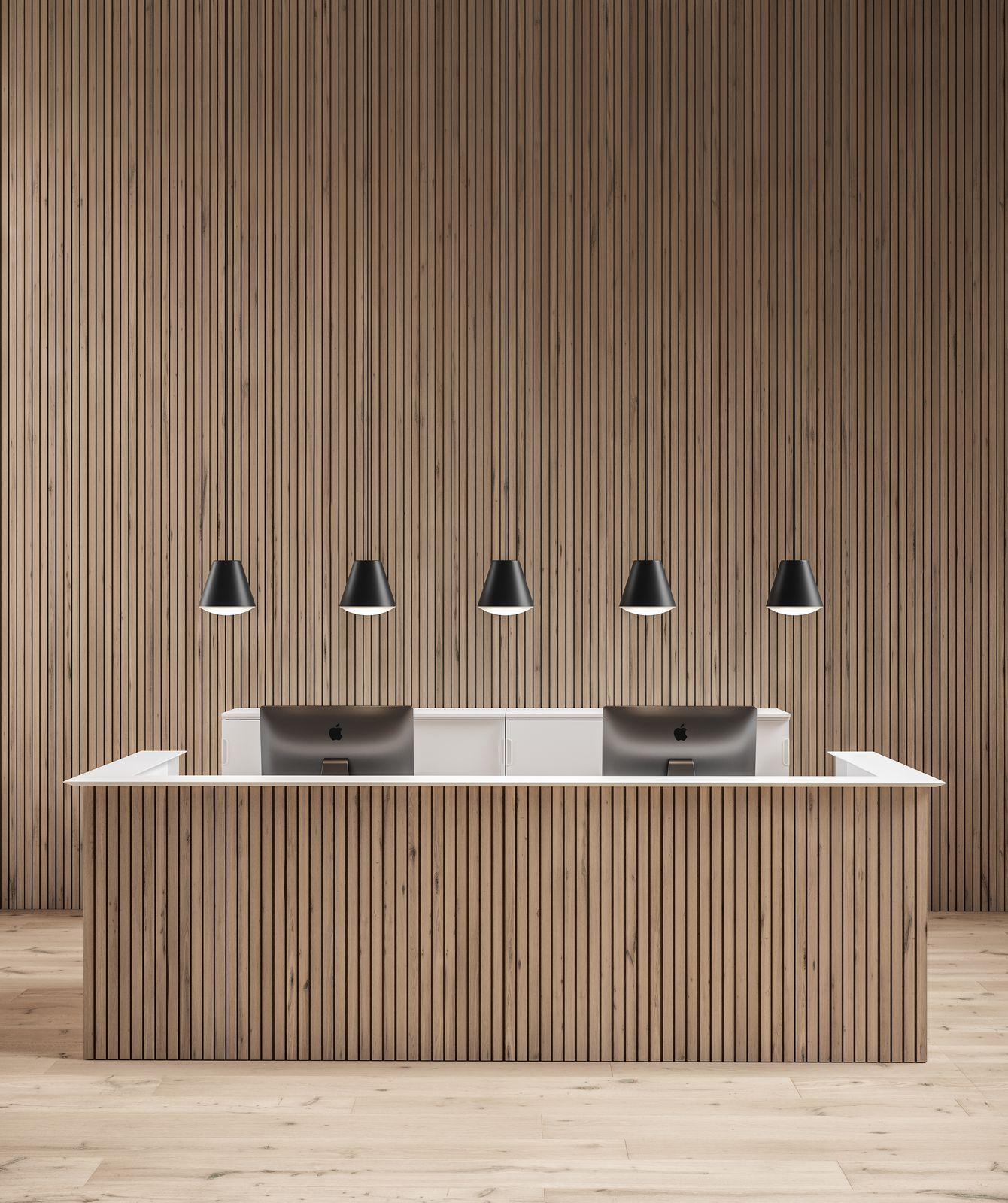 Reception area with beautiful wooden panels, JAMES HAY chairs, and HAY lamps in Nordic Light