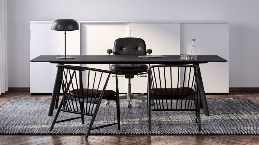 Executive Office with black office chair, office desk and black wooden lounge chairs in Nordic Black & White