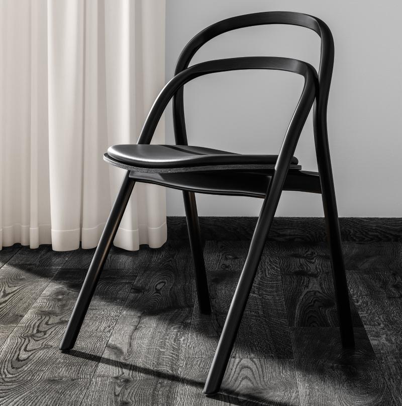 Artistic Dark wooden office chair in Nordic Black & White