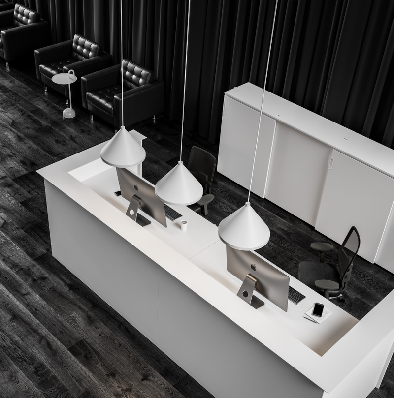 Reception area with beautiful wooden panels, JAMES HAY chairs, and HAY lamps in Nordic Black & White