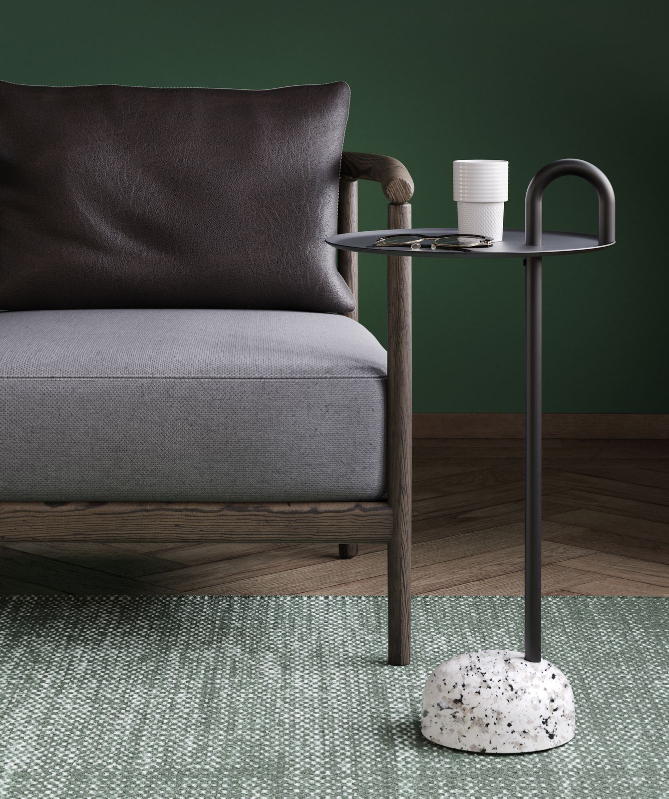 Executive office lounge area with lounge chair and Bowler side coffee table in Nordic Dark Green