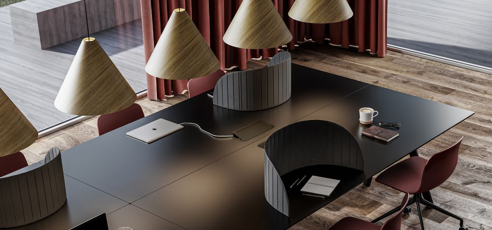 Nordic Dark open workspace with dark wooden tables and red accented office chairs