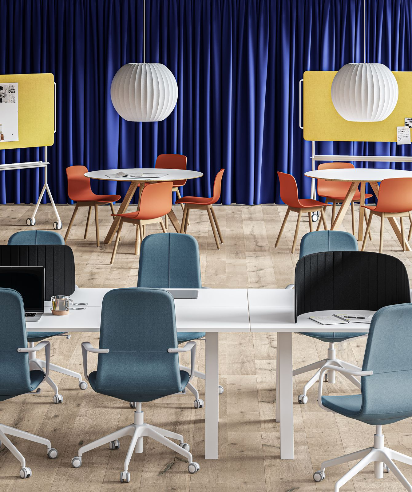 Colorful workspace for collaboration, workshops, and brainstorming in Nordic Light Multi